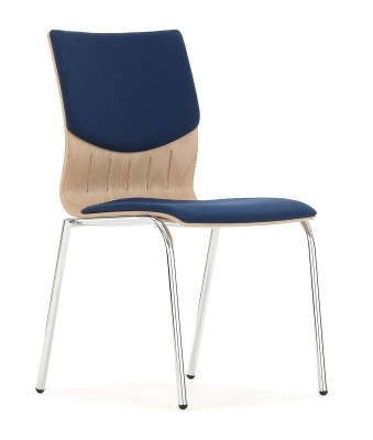 Isis Chair With An Upholstered Seat And Back And Chrome Frame Front Angle Shot