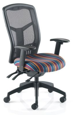 Hypo Mesh Operators Chair With Nylon Mesh Back Stripy Upholstered Seat And Arm Rests