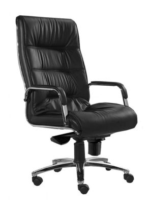 Magna Black Leather Executive Swivel Chair With Armrests And Chrome Base