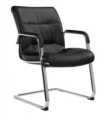 Magna Black Leather Visitors Chair With Chrome Cantilever Frame And Padded Armrests