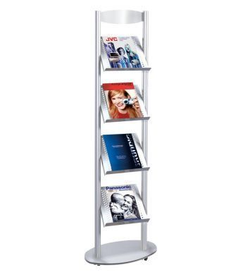 Sirius A4 Stand Alone Leaflet Holder With Four Shelves In Punched Aluminium