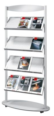 Artline Mobile Aluminium Leaflet Holder With 4 Large Shelve Can Hold Up To 12 A4 Leaflets