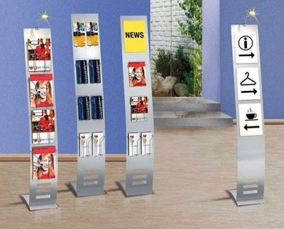 Arto Narrow Space Saving Leaflet Displays Two With Halogen Lamp