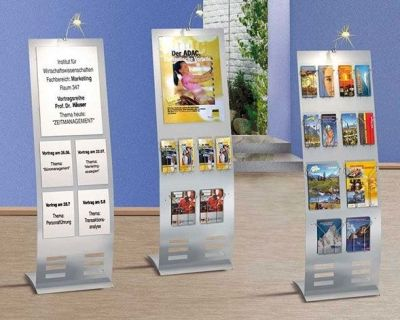 Arto Wide Space Saving Brocure Display Stands With Magnetic Poster Holders And A4,A5 Leaflet Holders