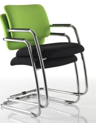 Stack Of Two Mitre Cantilever Boardroom Chairs With Green Upholstered Back And Black Fabric Seat