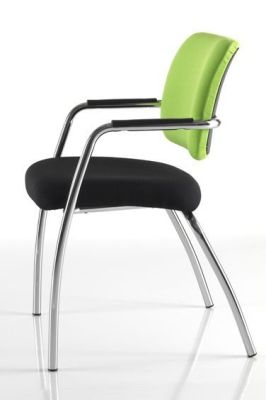 Side View Of Modern Mitre Meeting Chair With Chrome Frame And Floating Back Effect