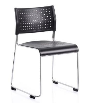 Vica Conference Chair With Silver Skid Frame And Perforated Black Seat And Back
