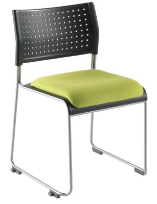 Vica Conference Chair With Green Upholstered Seat And Silver Frame