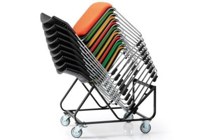 Stack Of Vica Chairs On Trolly