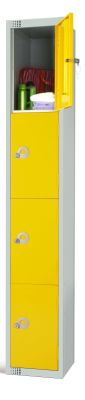 Elite Cloakroom Locker With Four Yellow Door Amd Camlock Style Locks