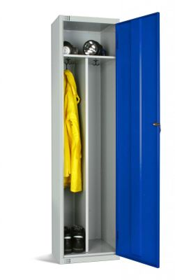 Elite Locker With Blue Door, Internal Partitian Seperating Clean From Dirty Garments