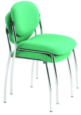 Sequence Stackable Chairs In Bright Green Fabric