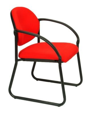 Stax Heavy Duty Conference Chair In Red Stretch Fabric With Black Heavy Duty Frame And Armrests
