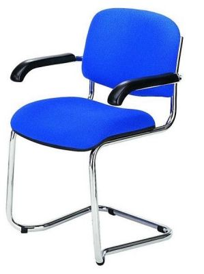 Strador Cantilever Meeting Chair With Blue Upholstery, Chrome Frame And Black Armrests