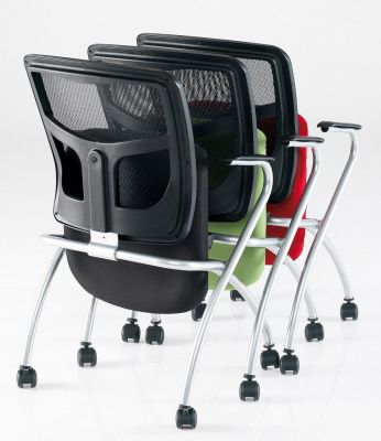 Stack Of Three Convoy Mobile Nesting Chairs With Castors