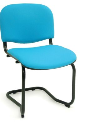 CP Basic Cantilever Stackable Meeting Chair With Blue Upholstery And Black Frame