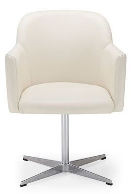 Anthea White Leather Swivel Meeting Chair With Durable Chrome Base