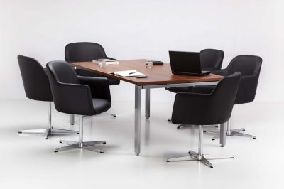 Executive Meeting Room With Dark Walnut Conference Table And Anthea Black Leather Tub Chairs