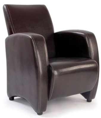 Metro Chocolate Brown Faux Leather Armchair