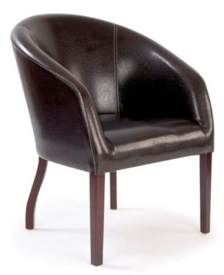 Metro Round Faux Leather Lounge Chair With Mahogany Stained Rubber Wood Frame