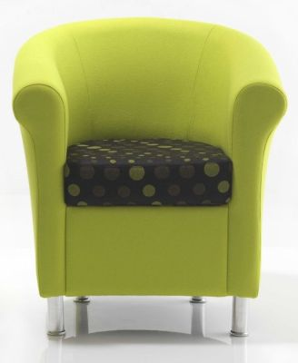 Batson Tub Chair With Large Curved Lime Green Back And Base And Spotted Patterned Cushion