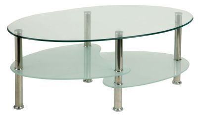 Rapio Glass Coffee Table With Frosted Glass Shelves And Chrome Legs