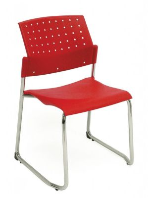 Movie Visitor Chair With Sled Base And Red Back And Seat