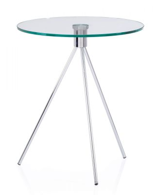 Tripod Round Glass Coffee Table With Chrome Legs