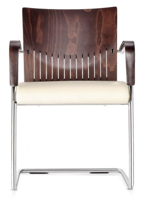 Castella Designer Conference Armchair With A Cantilever Frame And An Upholstered Seat Front View