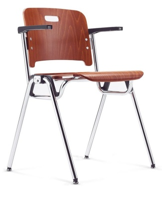 Stato Conference Plywood Chair With Arms