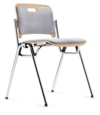 Stato Chair With Upholstered Seat And Back Front Angle