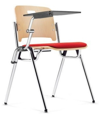 Stato Conference Chair With An Upholstered Seat And Writing Tablet