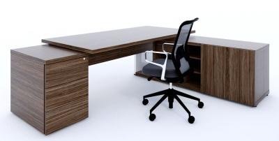 Mito Executive Desk Pedestal And Credenza In Dark Sycamore
