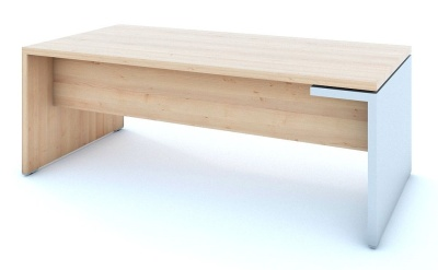 Mito Executive Desk In Light Sycamore With A High Gloss White Side Panekl Leg
