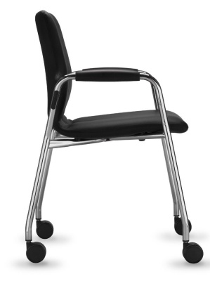 Conversa Mobile Conference Chair Fully Upholstered And Padded Side View