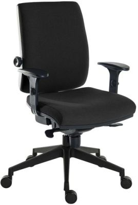 Ergostar Chair In Black Fabric With Height Adjustable Arms