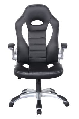 F1 Racer4 Chair Black With White Inserts Front Face