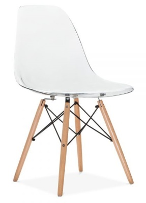 Eames Dsw Chair Transparent Shell Front Angle