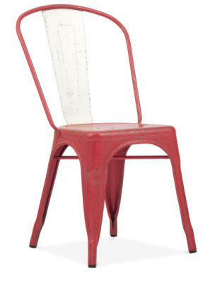 Xavier Pauchard Metal Dining Chair In A Distressed Red