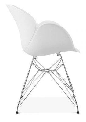 Eames Inspired Butterfly Chair In White With Metal Legs Side View