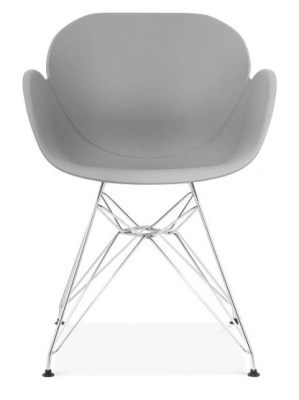 Eames Inspired Butterfly Chair With A Grey Shell And Metal Legs Front Facing