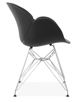 Eames Inspired Butterfly Chair With A Black Shell And Metal Legs Side View