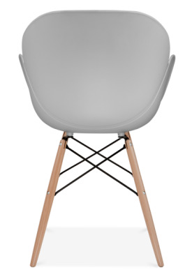 Eames Inspired Butterfly Chair Grey Shell Wooden Legs Rear Shot