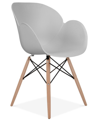 Eames Butterfly Chair With A Grey Shell And Wooden Tapered Legs Front Angle