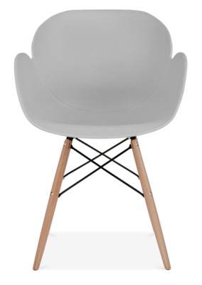 Eames Inspired Butterfly Chair With A Grey Seat Shell And Beech Legs Front Face