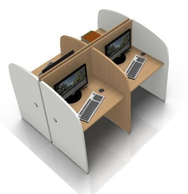 Offimat 4 Person Study Booth Facing White MFC Sides