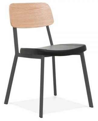 Rica Chair With A Charcoal Pu Seat Front Angle