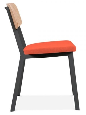 Rica Chair With An Orange Upholstered Seat Side View