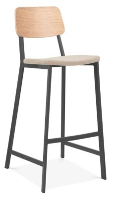 Rica High Stooll With A Black Frame And Cream Upholstered Seat Front Angle