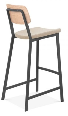 Rica High Stool With An Upholstered Seat Rear Angle View